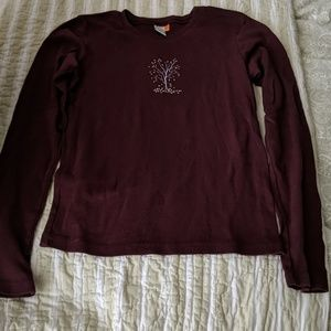 Lucy Burgundy Long Sleeve T-shirt with Tree